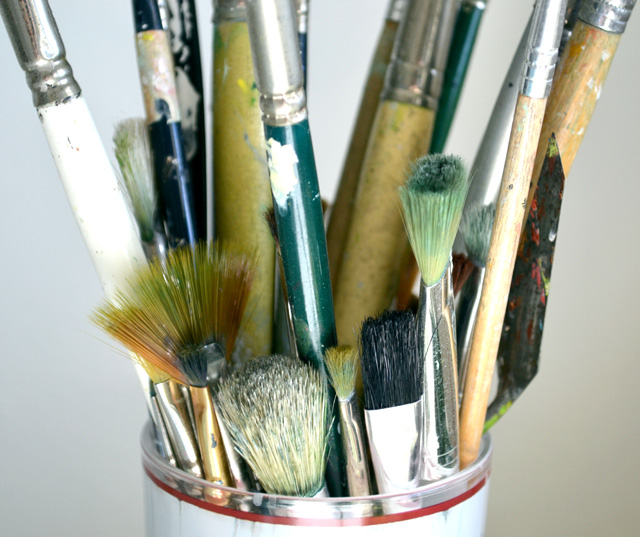LH-These paintbrushes were actually my grandmother's and I will always keep them for her.